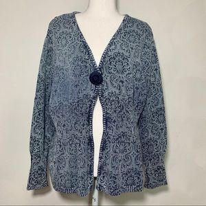 NorthStyle Persian Ribbed Knit Blue Cardigan Sz XL